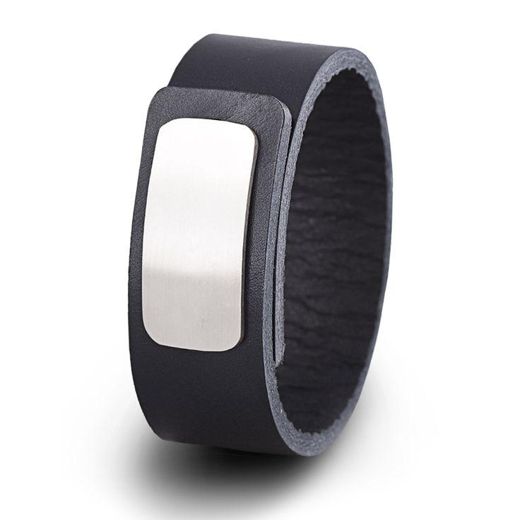 Wear Clint - Tuigleren armband (25mm / zwart) met RVS-sluiting. Een stoer design voor mannen en vrouwen!