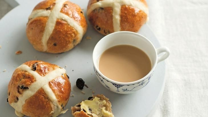 Dried cherry and hot cross buns by Anneka Manning.