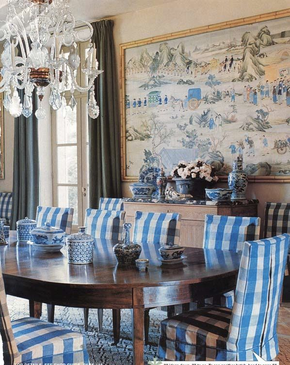 This dining room of Bunny Williams has been one of my favorites since her book came out. I love the chinoiserie panel, she is married to John Rosselli, and the large gingham Slipcovers are fab.