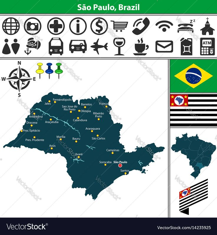 Map Of Sao Paulo Brazil Vector Image On VectorStock