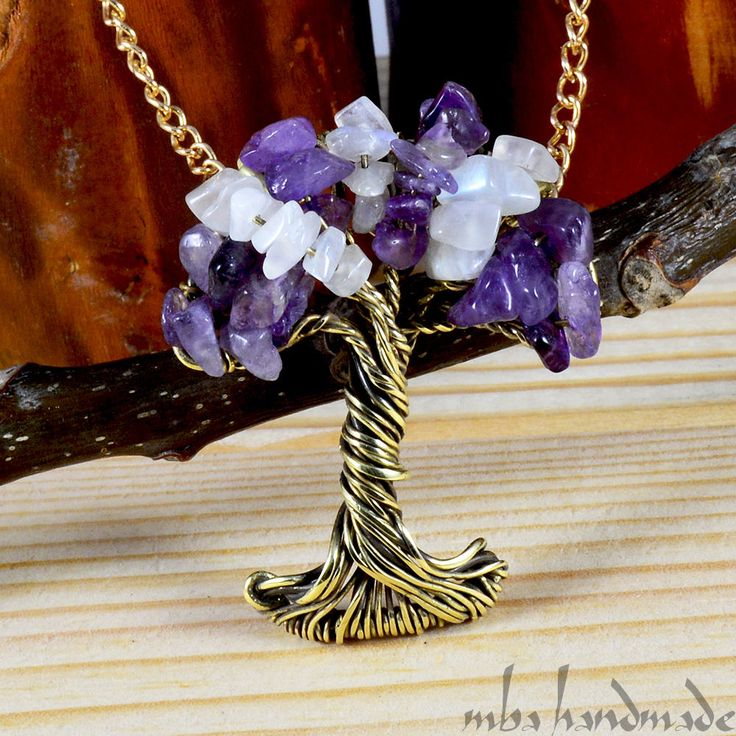 Amethyst & Rainbow Moonstone Tree Of Life Necklace Antiqued Brass Wire Wrapped #MBAHandmade #Wrap