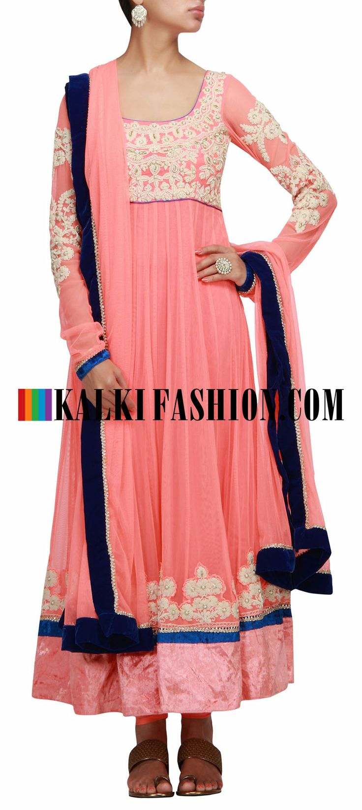 Buy Online from the link below. We ship worldwide (Free Shipping over US$100) http://www.kalkifashion.com/peach-anarkali-suit-with-thread-and-moti-work.html Peach anarkali suit with thread and moti work