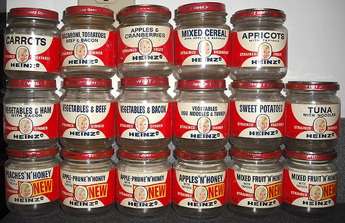 Vintage 1960's Heinz Baby Food Jars- interesting to see fruit w/ honey, & tuna!