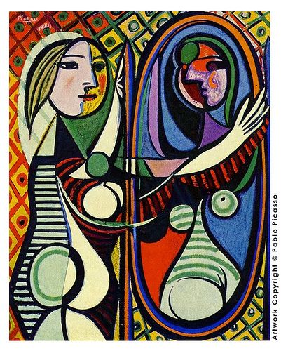 """Mirror"" by Pablo Picasso. 1881 -1973. This artwork inspires me because it is abstract and very colorful. Different gender"