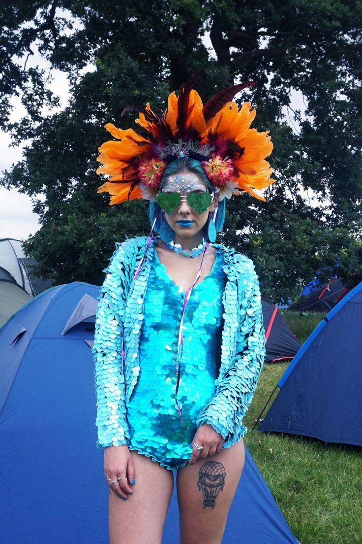 sophie hannah richardson at secret garden party wearing a sequin playsuit
