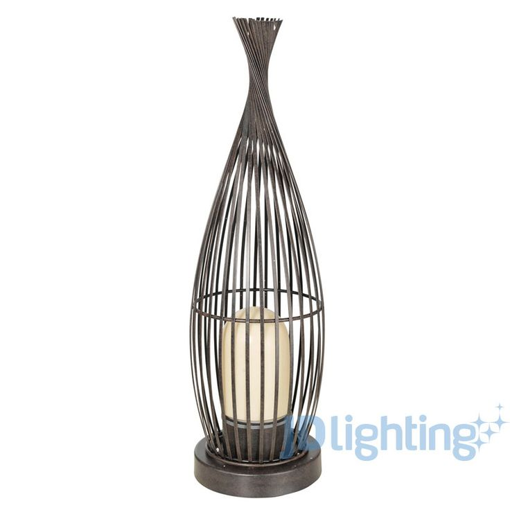 Lorena 1 Antique Brown & Champagne Glass Outdoor Floor Lamp - Eglo 89326 — JD Lighting