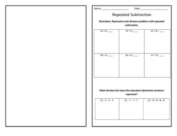 Worksheets 3rd Grade - division as repeated subtraction worksheets ...