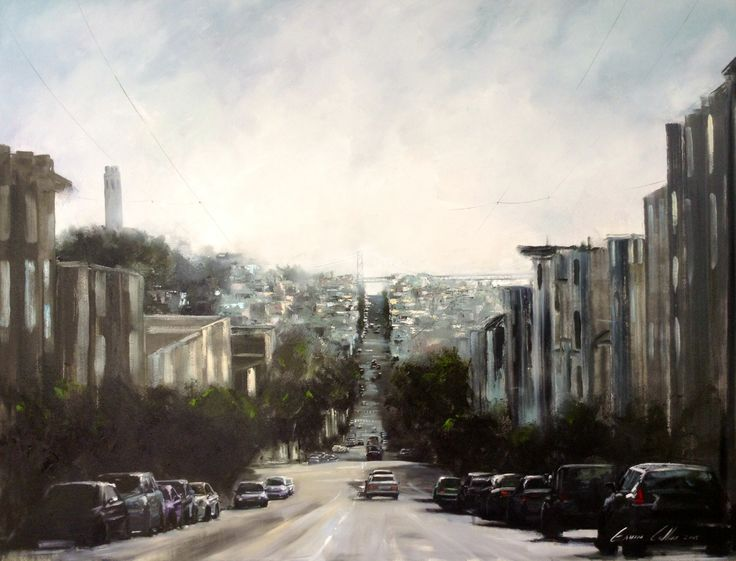 "Gavin Collins Paintings Title: ""In the Streets of San Francisco"" Size: 2m x 1,5m"