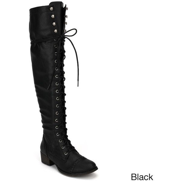 OPPO Breckelle's Women's 'Alabama-12' Elastic Over-the-knee Combat... ($50) ❤ liked on Polyvore featuring shoes, boots, botas, black, over-the-knee boots, over-knee boots, over the knee platform boots, black leather over the knee boots, thigh high boots and black lace up boots