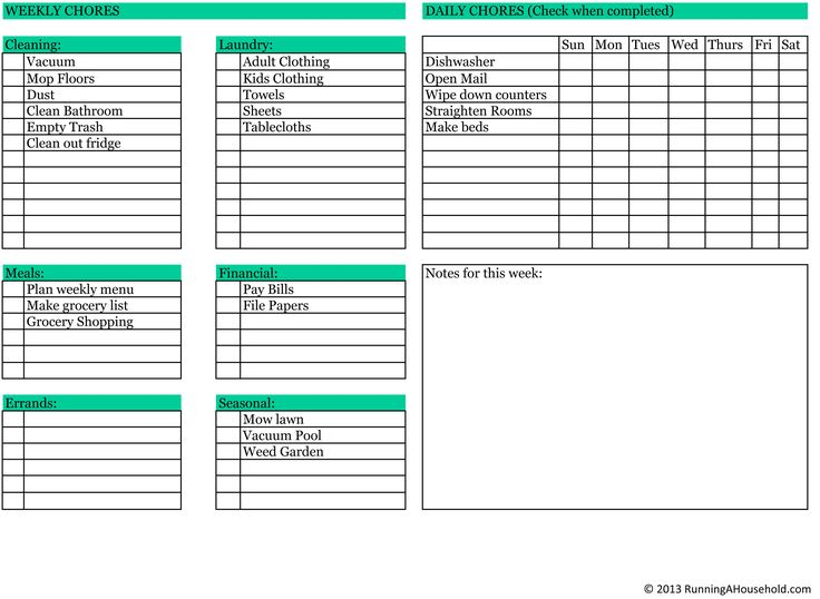 Household Chores – Printable Weekly Checklist | Running A Household