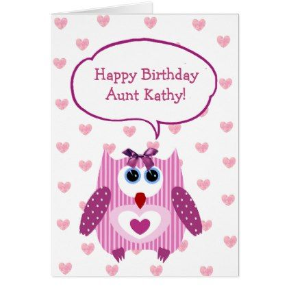 #Personalized Pink Owl Happy Birthday Card for Aunt - #birthday #gifts #giftideas #present #party