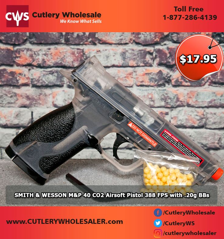 SMITH & WESSON M&P 40 CO2 Airsoft Pistol 388 FPS with .20g BBs Feature: * Semi-auto design for rapid rate of fire * Magazine Capacity: 15 * Weight: 1.4 lbs * BAX accuracy system * Full 1:1 Scale * Licensed by Smith & Wesson * Velocity: 388 fps with .20g BBs * Power: CO2 Call Now: 1.877.286.4139 . .  #Sharpgun #fitnessgirl #fitfam #fitness #shooting #donutman #sofun #gun #weaponsdaily #training #trainingday #gunsdaily