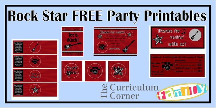 """Freebie Rock Star Party Printables for your rock star's birthday party.  Includes thank you card, water bottle labels, candy bar wrappers, backstage passes and 2"""" circles.  All free from The Curriculum Corner Family!"""