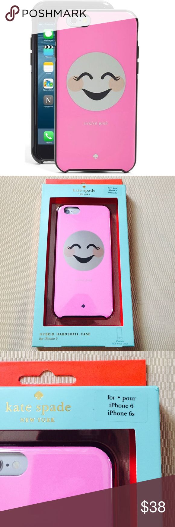 kate spade♠️ 'tickled pink' iPhone 6 and 6s case brand new in box kate spade♠️ New York 'tickled pink' iPhone 6 and 6s case. Show off your silly side with this adorable hard-shell pink case featuring a blushing emoticon. This adorable hard-shell case keeps your iPhone safe from dust and scratches. kate spade Accessories Phone Cases