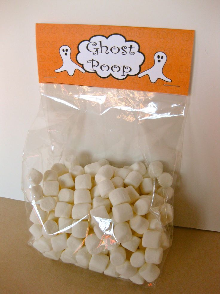 Free 'Ghost Poop' Printable Toppers for Halloween! So cute and easy :) I used to do this for 'snowman poop'-- you have been bad all year so here's the scoop, all you get for Christmas is snowman poop!