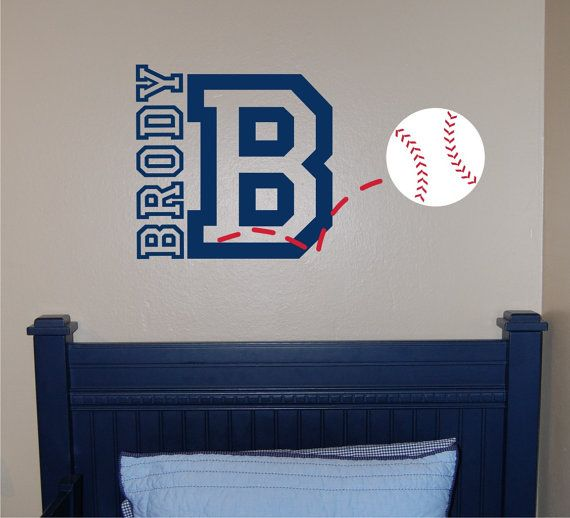 Hey, I found this really awesome Etsy listing at https://www.etsy.com/listing/179882360/baseball-name-initial-wall-decal