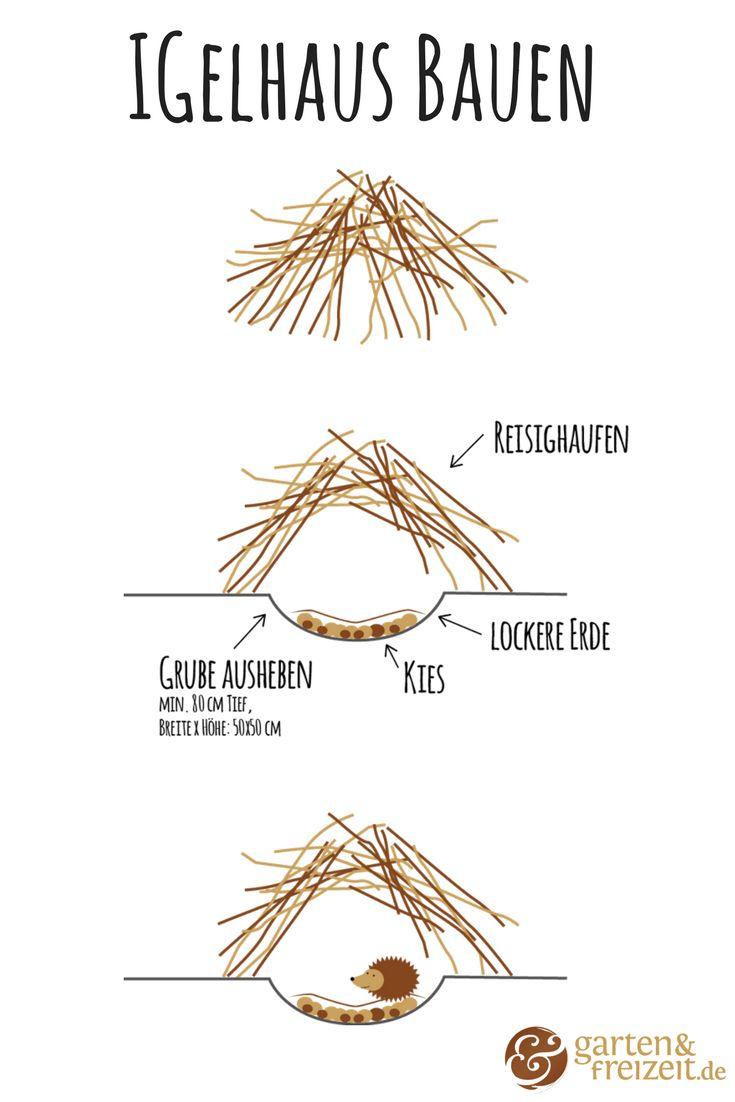 Igelhaus bauen   Das Bauen eines Reisighaufens ist recht einfach – hier werden Äste und Zweige auf einen Haufen getragen. Achten Sie dabei darauf, dass mögliche Eingänge offen bleiben. Sie können den Boden vorher auflockern, damit die Tiere genügend Hohlräume unter dem Haufen schaffen können. #igel #igelhaus #winterschlaf