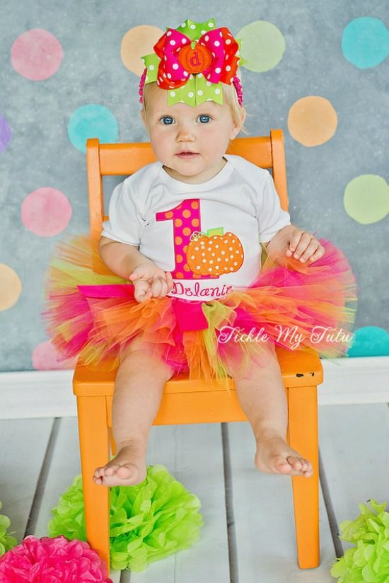 Little Pumpkin Birthday Tutu Outfit, This Little Pumpkin is ONE birthday outfit, Hot Pink and Orange pumpkin party