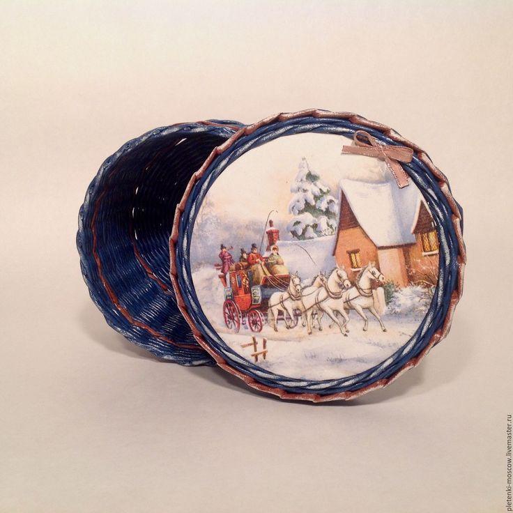 Купить Шкатулка из бумажной лозы Зимняя Сказка - шкатулка ручной работы, шкатулка для мелочей, шкатулка