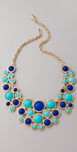 Turquoise and lapis bib necklace. #Style