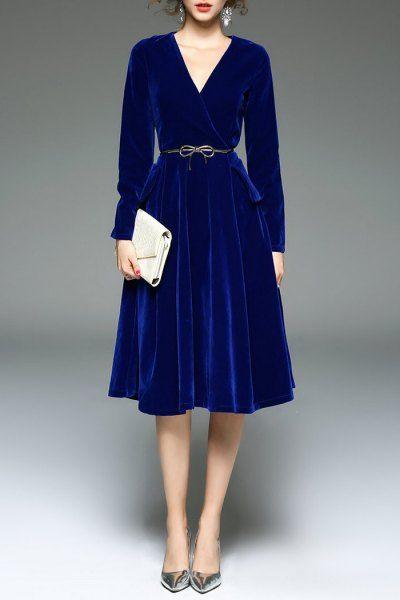 Sfeishow Royal Velour Surplice Dress | Midi Dresses at DEZZAL