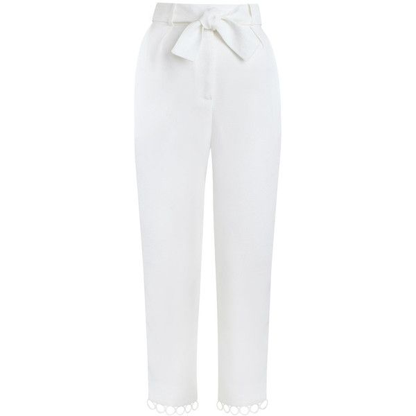 ZIMMERMANN Winsome Sphere Pant ($575) ❤ liked on Polyvore featuring pants, capris, bottoms, high waisted pants, lined pants, white lined pants, zipper pants and white trousers