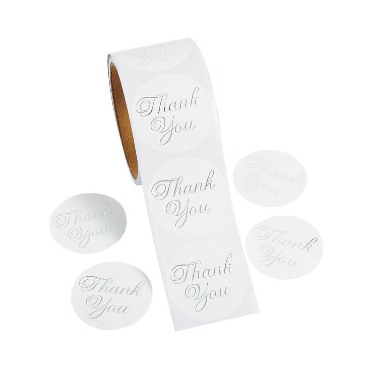 Metallic Foil Thank You Personalized Stickers - OrientalTrading.com