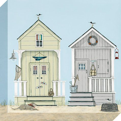Beach Huts Greetings Card By Sally Swannell