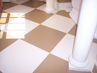 Painted concrete floor.