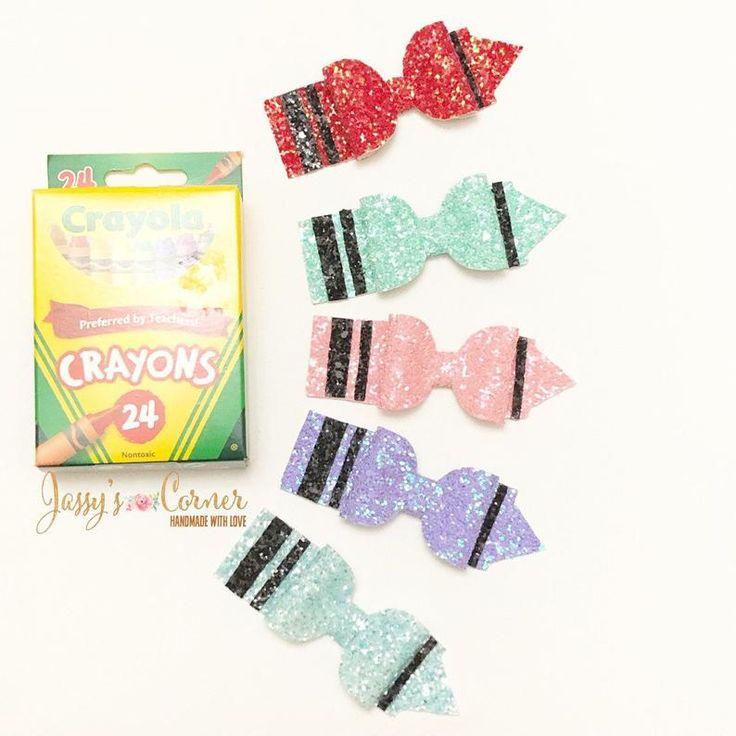 Crayon hair bow | Crayon hair clip | Back to school bow | Back to school clip | Glitter hair bow | Glitter hair clip | Nylon Headband |