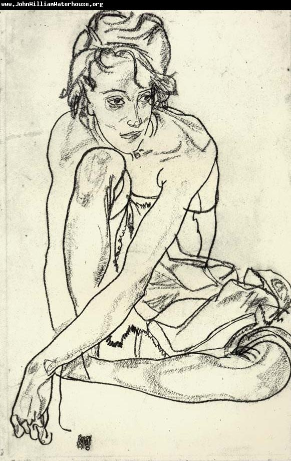 His length in his lines and minimal shading bring out the character. (Egon Schiele)