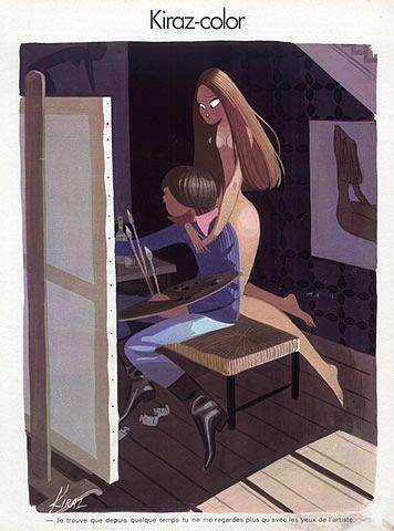 Edmond Kiraz 1974 Model, Art Modeling Nude, Painter illustrée par Edmond Kiraz | Hprints.com