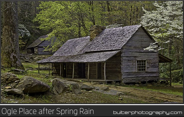 """Ogle Place after Spring Rain.  Roaring Fork Motor Trail, Great Smoky Mountains. This 19th century """"saddlebag"""" cabin with two living areas that share one chimney is found just south of Gatlinburg Tennessee. The cabin was built by Noah """"Bud"""" Ogle over five years spanning the late 1880's and early 1890's.  I arrived just after a morning rainstorm to capture this scene.  Prints @ BuiterPhotography.com"""