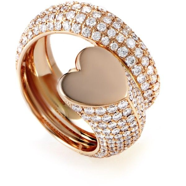 Pre-owned Chopard Classic 18K Rose Gold Diamond Pave Heart Ring (9,600 CAD) ❤ liked on Polyvore featuring jewelry, rings, pave ring, heart jewelry, red gold ring, heart shaped rings and pave heart ring