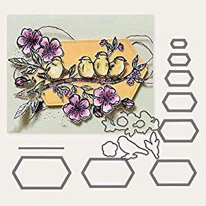 Lai-LYQ Metallstanzschablone sechseckiger Rahmen Prägeschablone DIY Scrapbook P…
