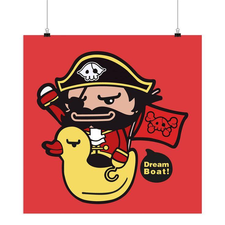 Пират Желтая Утка Красный Современные Аннотация Плакат Печати Мультфильм Животных Картина Большой Холст Картины Детская Комната Wall Art Наклейки Подарок