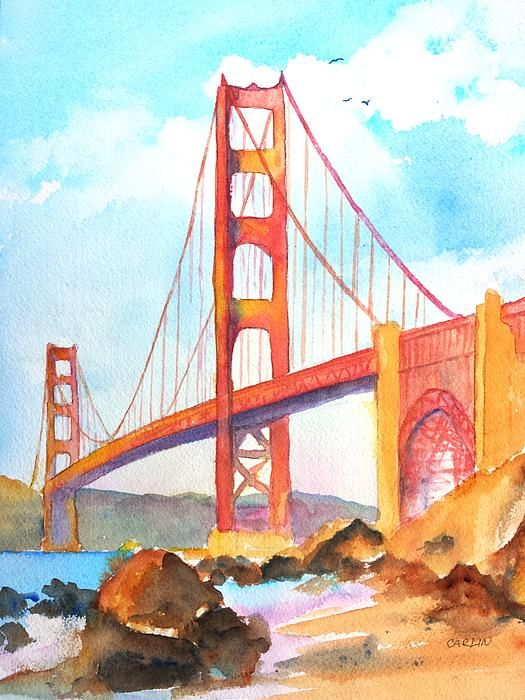 "Golden Gate Bridge 3 watercolor painting by Carlin Blahnik. Once called ""the bridge that couldn't be built,"" today the Golden Gate Bridge is one of the seven wonders of the modern world and San Francisco's most famous landmark.  The view is from the rock strewn sandy beach. The water reflects the blue sky, the golden bridge and the soft white clouds. A few seagulls fly high in the sky above the bridge tower.  http://www.carlinart.com/"