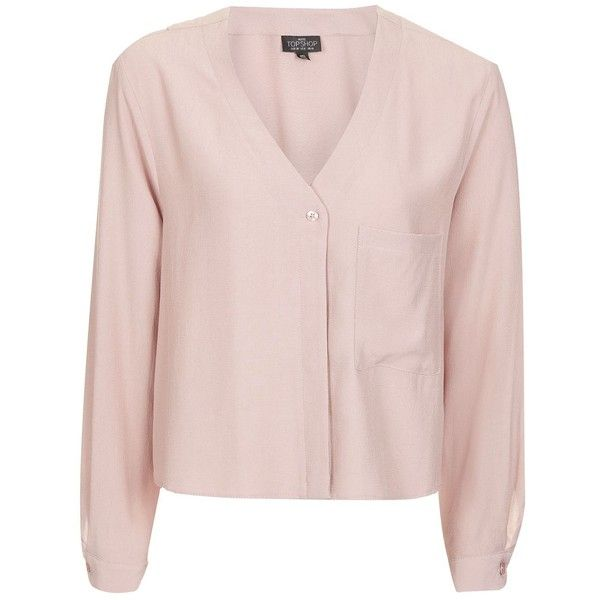 TopShop Petite Slouchy Pocket Blouse ($30) ❤ liked on Polyvore featuring tops, blouses, blush, petite long sleeve shirts, long sleeve pocket shirts, pink blouse, petite blouses and pink crop top