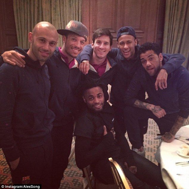 (From left) Javier Mascherano, Adriano, Messi, Alex Song, Neymar and Dani Alves pose for a picture