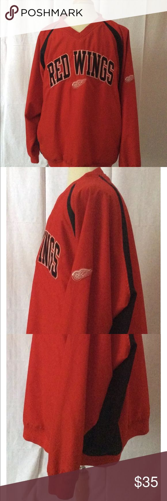 """Detroit Red Wings Men's Pullover Windbreaker  2XL Detroit Redwings Windbreaker. The size is a 2XL. Type: JacketStyle:WindbreakerBrand:NHLMaterial:100% PolyesterColor: RedMeasurements:Pit To Pit - 30 1/4""""             Sleeve Length - http://www.99wtf.net/men/mens-fasion/casual-guide-black-men-african-fashion-2016/"""