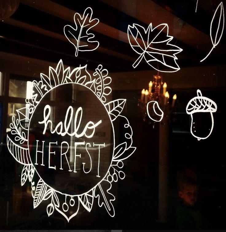Hallo herfst #raamtekening door Frenie H