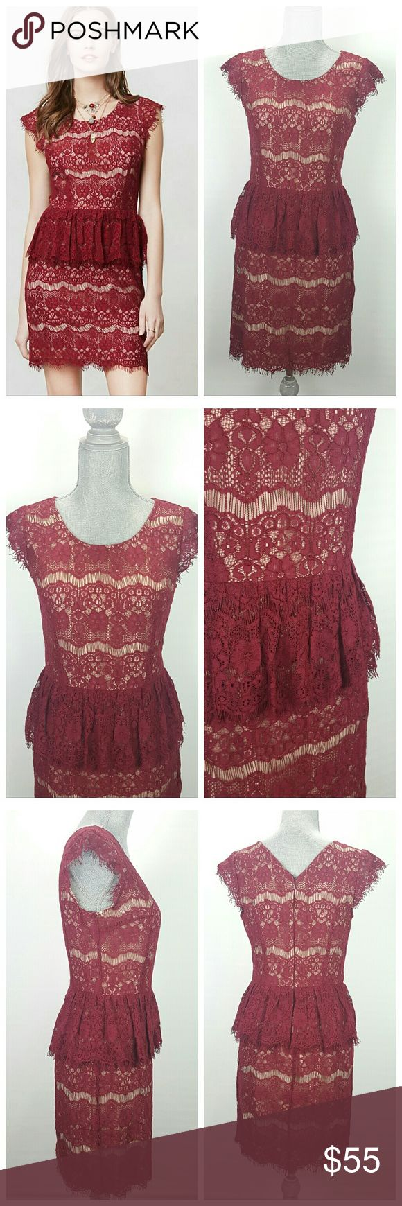 Anthropologie Maeve Elsa Red Peplum Dress-Sz Small Anthropologie- Maeve Elsa Red Peplum Dress   Red lace over nude lining with scoop neck and fringe on cap sleeves and hem. Excellent condition. Anthropologie Dresses Midi
