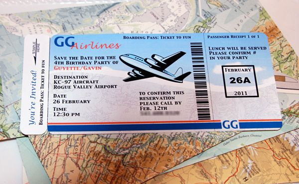 Invite for an airplane themed birthday party. Love the idea of a ticket sent in an envelope made out of a map.