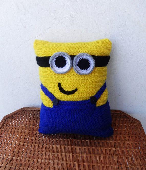 Minion Pillow Crochet Pillow Funny Pillow Decorative