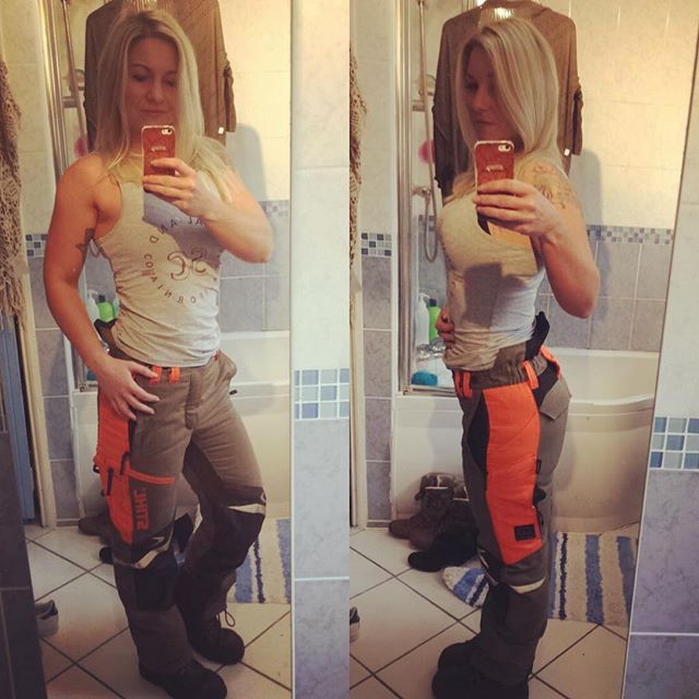 Chainsaw pants a little bit more snug than last time I wore them! #gains #squats #theydontfitmeanymore #chainsaw #chainsawcarving #stihl #logs #logging #ppe #bodybuilding #girlswithmuscle #girlswholift #muscle #fitness #instagood #arb