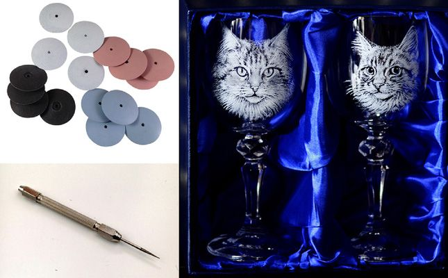 Glass engraved cat glasses by Alan Sinclair. The fine detail on the fur is created using a variety of diamond burs in a pin vice and mini rubber silicone polishers, knife edge shaped.