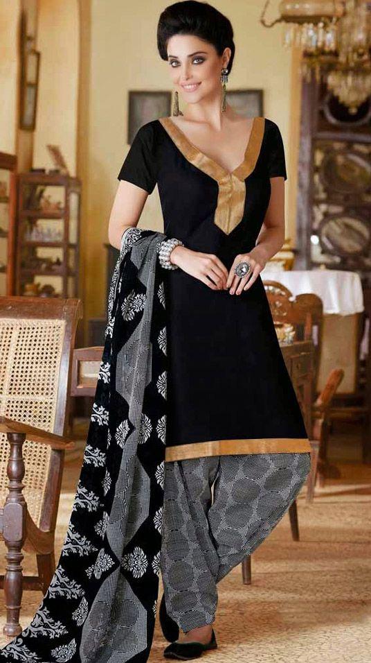 USD 28.46 Black Cotton Patiala Salwar Suit 44402
