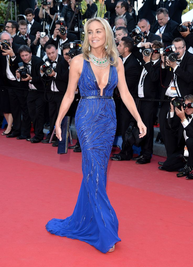 Sharon Stone in Roberto Cavalli at 'Behind The Candelabra' Premieres in Cannes 2013
