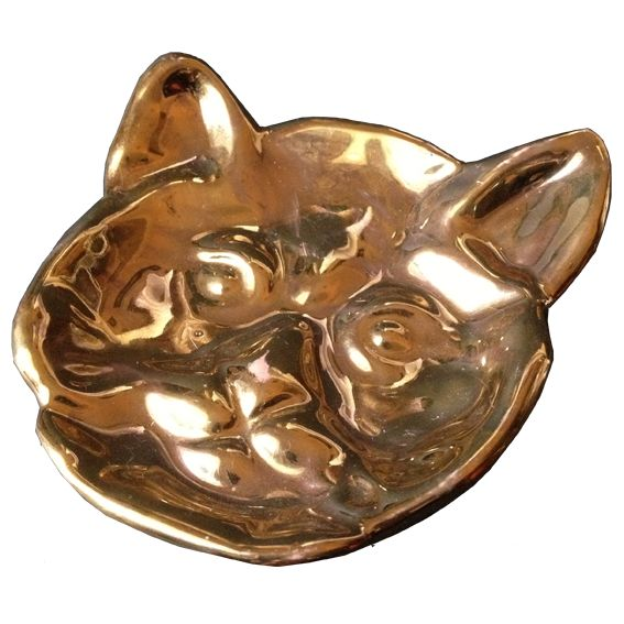 Handmade ceramic Kitteh ashtray in real gold luster. Exclusive to Feral Goods.
