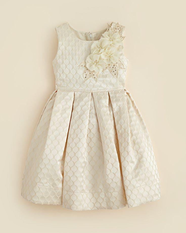 Kleinfeld Pink Girls' Arianna Embossed Dress - Sizes 4-6X   Bloomingdale's